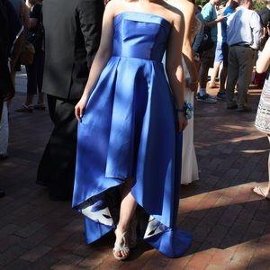 Royal blue, satin, strapless, high/low prom dress